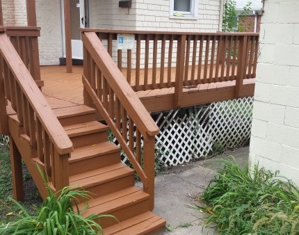 Staining of a deck